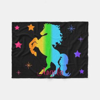 虹の野生の馬の星の女の子の多彩なシルエット フリースブランケット