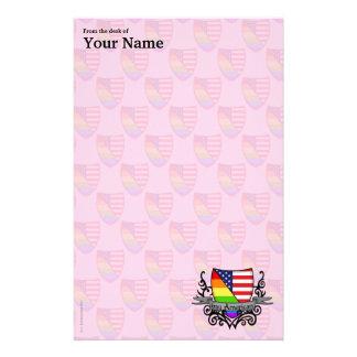 虹の陽気なレズビアンのプライドの盾の旗 便箋