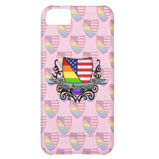 虹の陽気なレズビアンのプライドの盾の旗 iPhone5Cケース