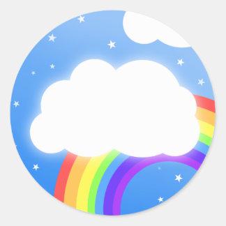 虹の雲の名前をカスタムする-ステッカー ラウンドシール