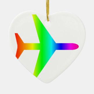 虹の飛行機 セラミックオーナメント