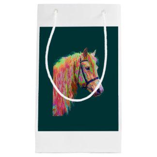 虹の高地の子馬の美しい色 スモールペーパーバッグ