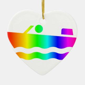虹の高速モーターボート セラミックオーナメント