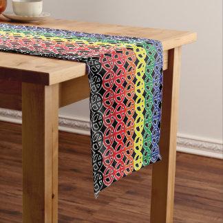 虹の黒をピースサイン ショートテーブルランナー