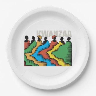 虹のKwanzaa Kwanzaaのパーティーの紙皿 ペーパープレート