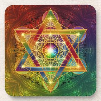 虹のMetatronの生命コースターの立方体の花 コースター