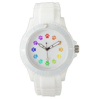 虹のPawprintの白人女性の腕時計 腕時計