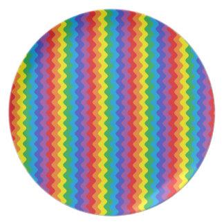 虹のRickrackのプレート プレート