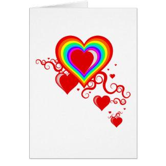 虹のsquiggleのハート カード