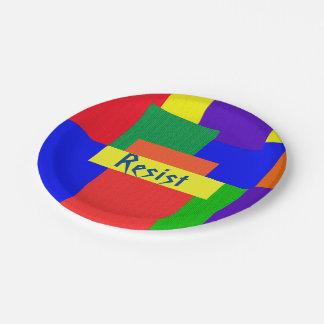 虹はパッチワークキルトのデザインの紙皿に抵抗します ペーパープレート