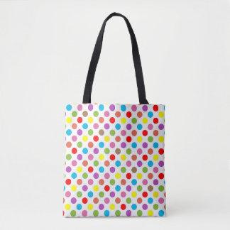 虹は水玉模様パターンを着色します トートバッグ