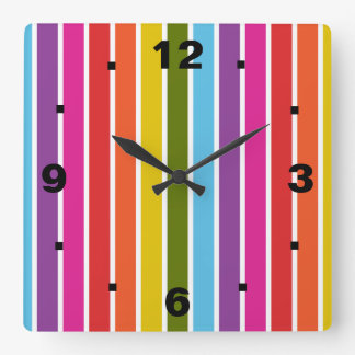 虹は縞で飾ります スクエア壁時計