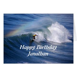 虹を持つジョナサンのハッピーバースデーのサーファー グリーティングカード