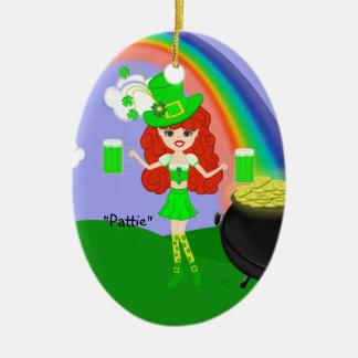 虹を持つSt Pat日の赤毛の女の子の小妖精 セラミックオーナメント