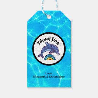 虹を跳躍しているイルカは感謝していしています ギフトタグ