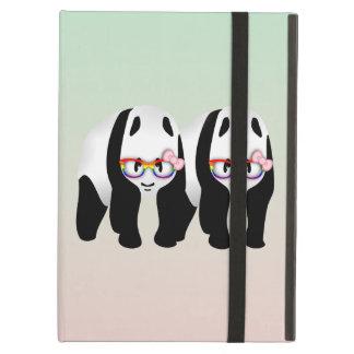 虹ガラスを身に着けているレズビアンのプライドのパンダ iPad AIRケース