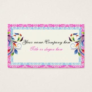 虹スクロール葉の青いピンクのダマスク織のボーダー 名刺