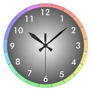 虹スペクトル色コンテンポラリーなデザイナー時計 ラージ壁時計