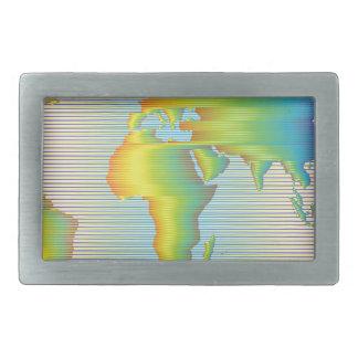 虹バンドの世界地図 長方形ベルトバックル