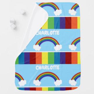 虹パターン名前入りなカラフル ベビー ブランケット