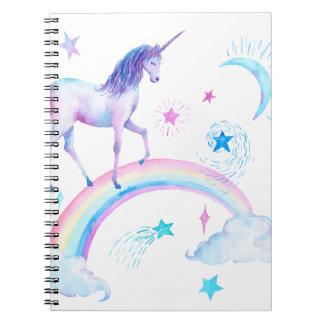 虹上の水彩画のユニコーン ノートブック
