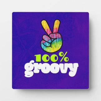 虹手のピースサインと素晴しい100% フォトプラーク