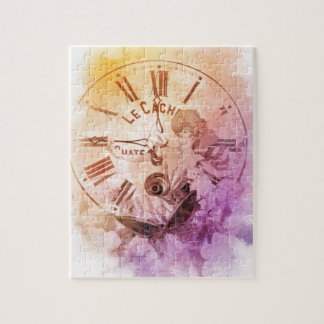 虹水色のヴィンテージの女性の時計猫 ジグゾーパズル