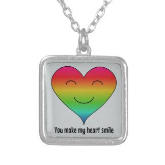 虹私のハートのスマイルを作ります シルバープレートネックレス