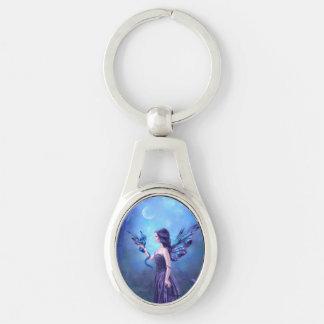 虹色のドラゴン及び妖精の芸術の楕円形Keychain キーホルダー