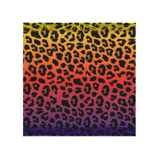 虹色のファンタジーのヒョウのプリントパターン ウッドウォールアート