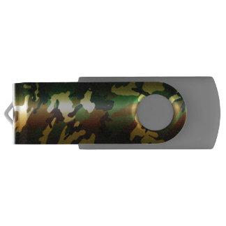 虹色の光沢のある森林迷彩柄のカムフラージュ USBフラッシュドライブ