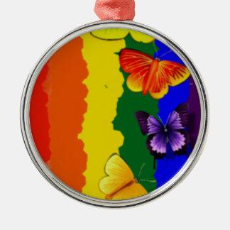虹色の多様性のお祝い メタルオーナメント