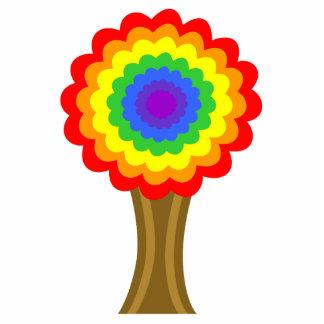 虹色の明るくカラフルな木 写真彫刻オーナメント