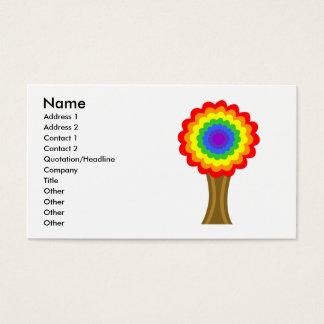 虹色の明るくカラフルな木 名刺