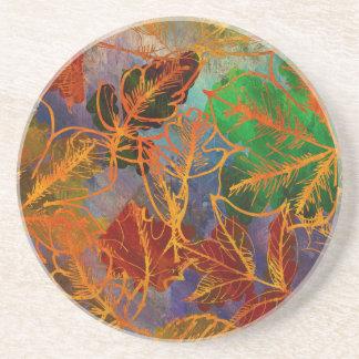 虹色の芸術の紅葉の背景 コースター