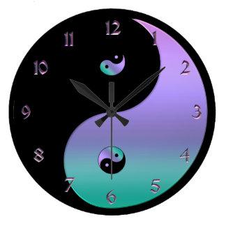 虹色の陰陽の時計 ラージ壁時計
