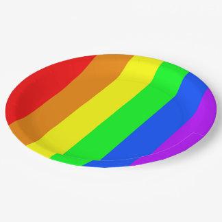 虹色は、明るく幸せな圧倒すること縞で飾ります ペーパープレート