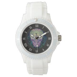 虹色、ハートの砂糖のスカル 腕時計