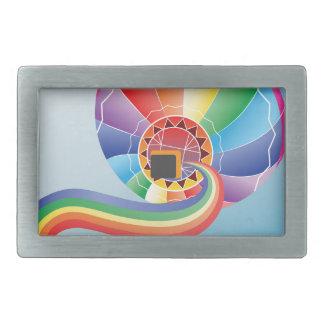 虹2が付いている気球 長方形ベルトバックル