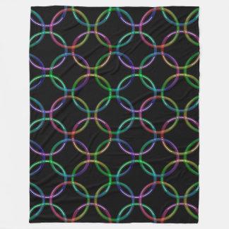 虹3Dの連結のリングや輪 + あなたのアイディア フリースブランケット