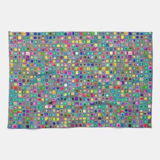 虹「カーニバル」はモザイク・タイルパターンを織りました キッチンタオル