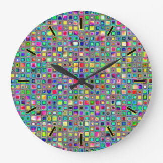 虹「カーニバル」はモザイク・タイルパターンを織りました ラージ壁時計