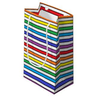 虹、白および黒のストライプ スモールペーパーバッグ