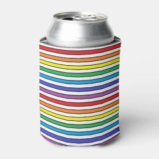 虹、白および黒のストライプ 缶クーラー