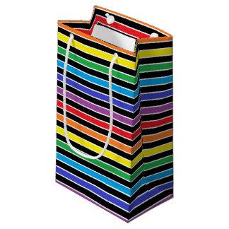 虹、白黒ストライプ スモールペーパーバッグ