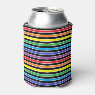虹、白黒ストライプ 缶クーラー