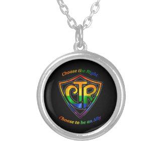 虹CTR - LDS LGBTの同盟国 シルバープレートネックレス