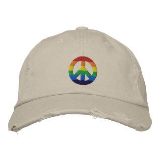 虹GLBTのピースサインの帽子 刺繍入りキャップ