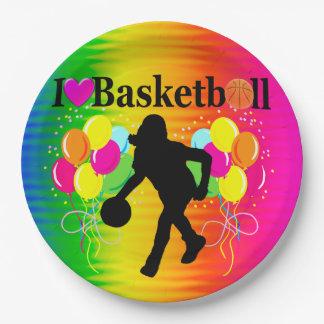 虹I愛バスケットボールの紙皿 ペーパープレート