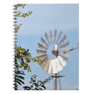 虹LORIKEET及び風車クイーンズランドオーストラリア ノートブック
